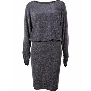 Jessica Howard Metallic Silver Dress 10 Petite